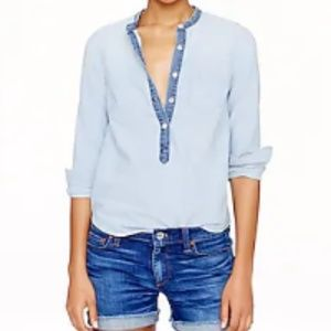 J. Crew collarless indigo popover chambray blouse